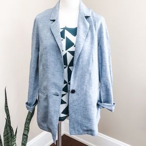 Anthro Drew blue cotton linen boyfriend blazer M